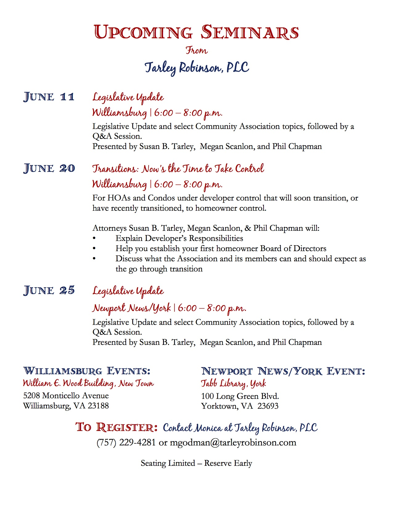 Tarley Robinson June Seminars