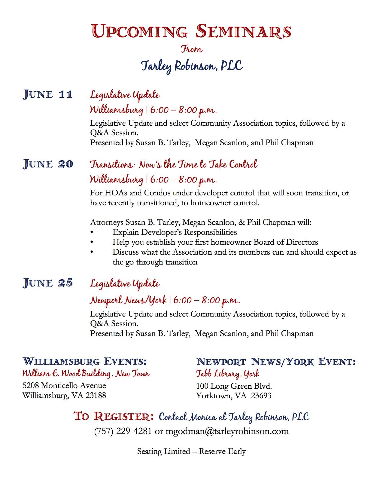 Tarley Robinson June Seminars